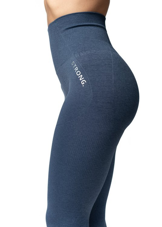 Bezszwowe Legginsy Double Push Up Revolution. Navy Blue Jeans.