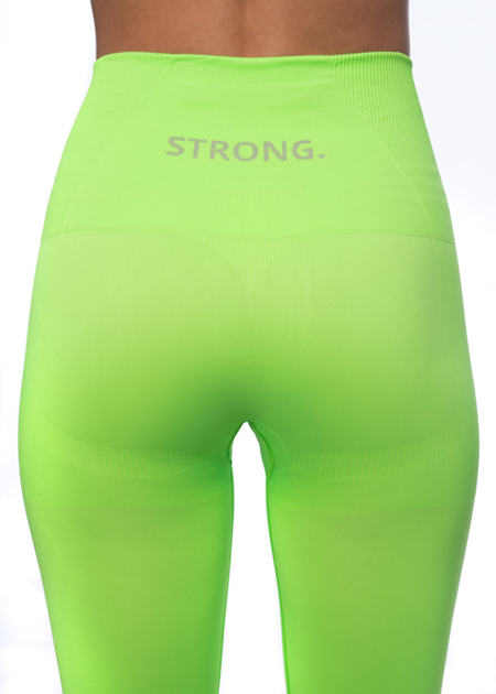 MODELUJĄCE LEGGINSY BEZSZWOWE NEON YELLOW-GREEN (PUSH UP)